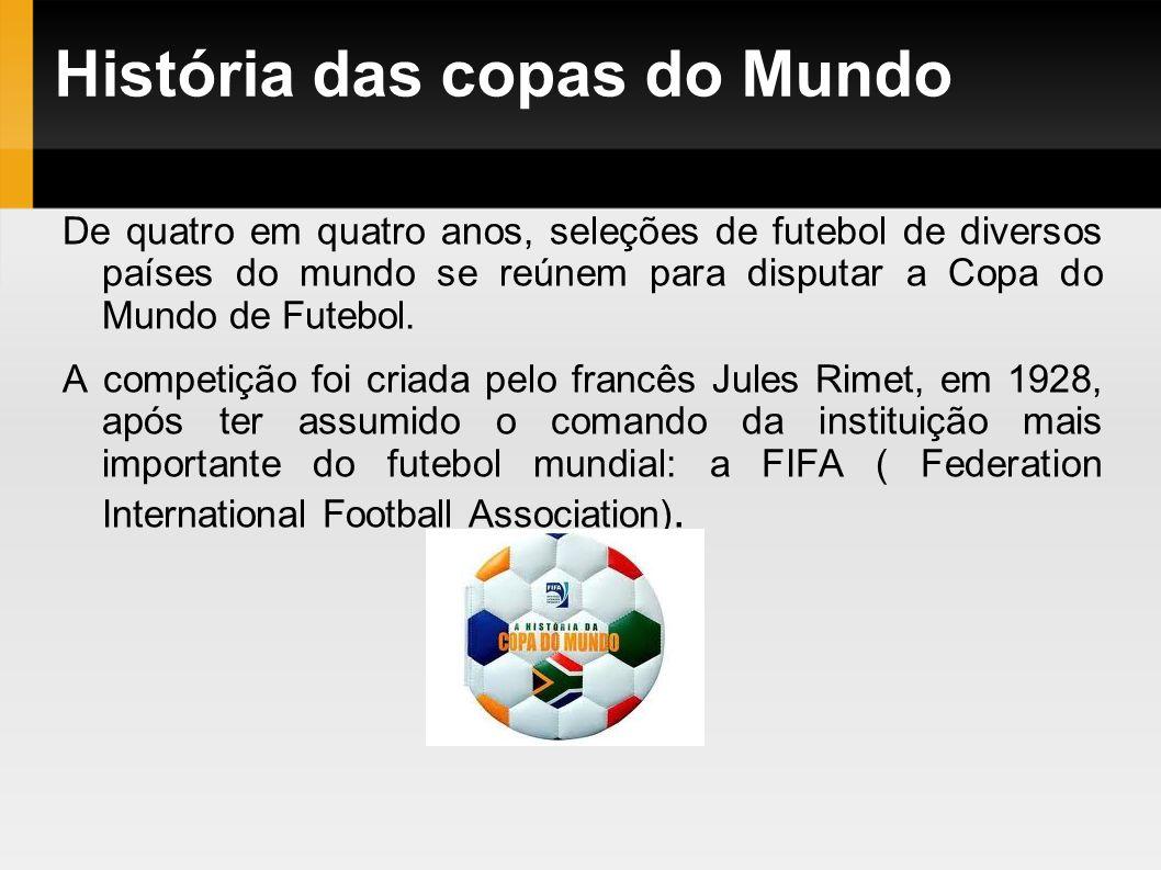 História das copas do Mundo De quatro em quatro anos, seleções de futebol de diversos países do mundo se reúnem para disputar a Copa do Mundo de Futeb