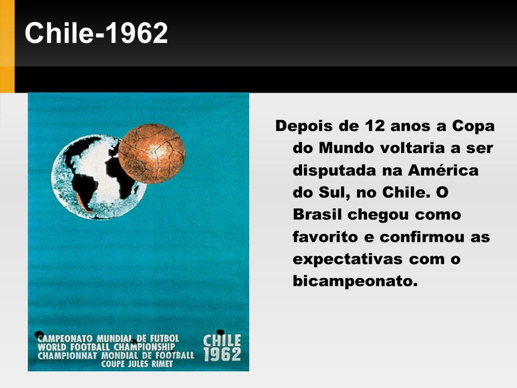Chile-1962 Depois de 12 anos a Copa do Mundo voltaria a ser disputada na América do Sul, no Chile. O Brasil chegou como favorito e confirmou as expect