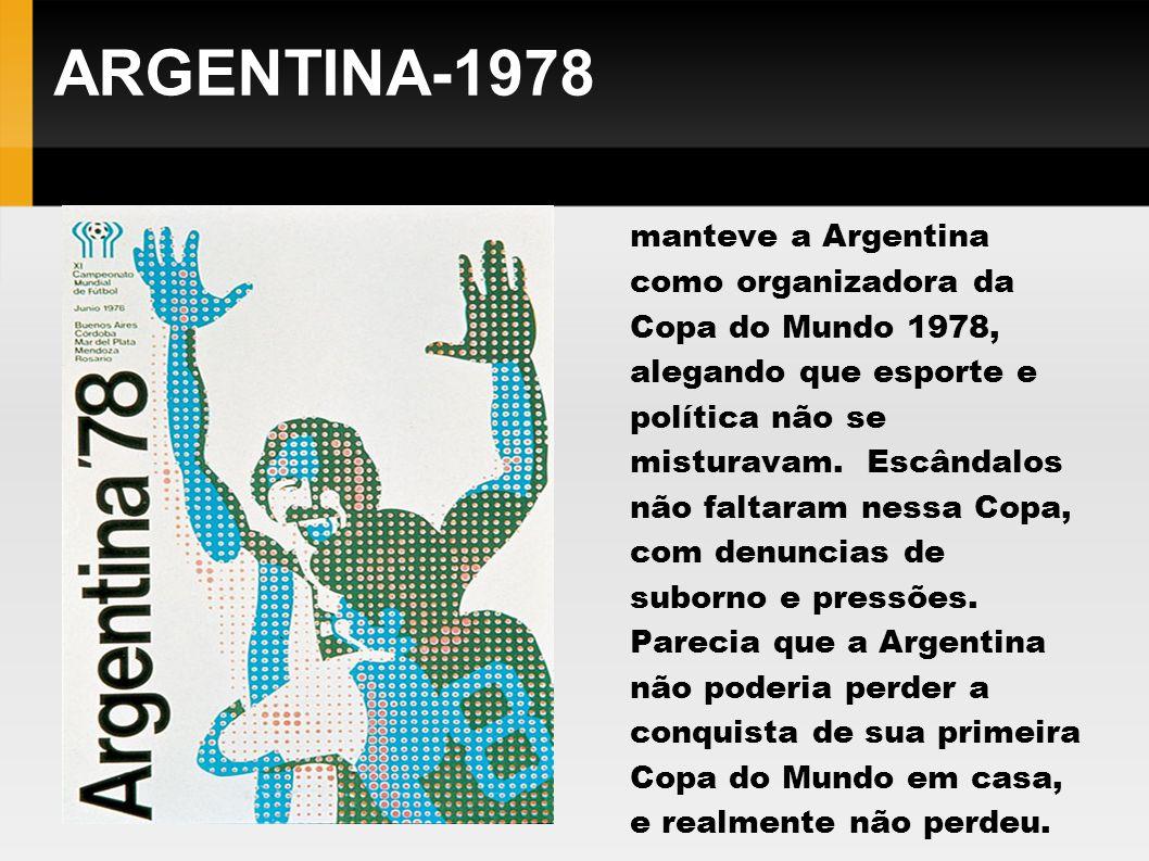 ARGENTINA-1978 Mesmo sob intenso a Fifa manteve a Argentina como organizadora da Copa do Mundo 1978, alegando que esporte e política não se misturavam