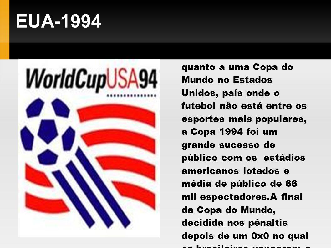 EUA-1994 Para quem tinha dúvidas quanto a uma Copa do Mundo no Estados Unidos, país onde o futebol não está entre os esportes mais populares, a Copa 1