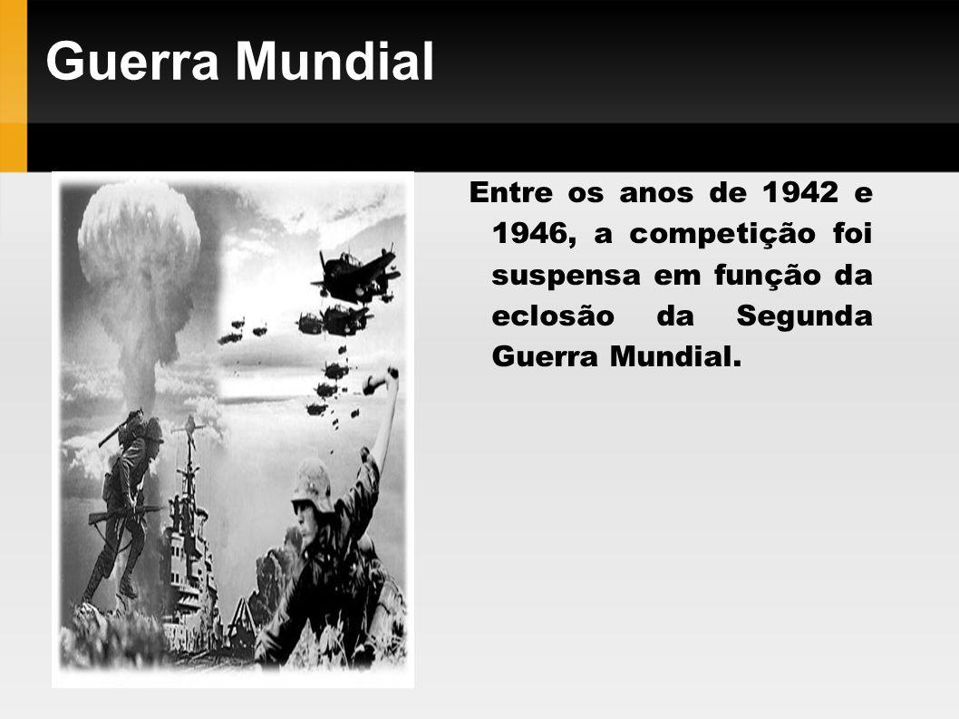 Guerra Mundial Entre os anos de 1942 e 1946, a competição foi suspensa em função da eclosão da Segunda Guerra Mundial.