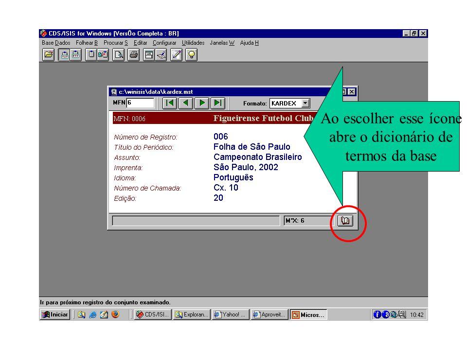 escolha assunto ao clicar duas vezes o termo passa para a interface de busca pressione Executar e depois Mostrar