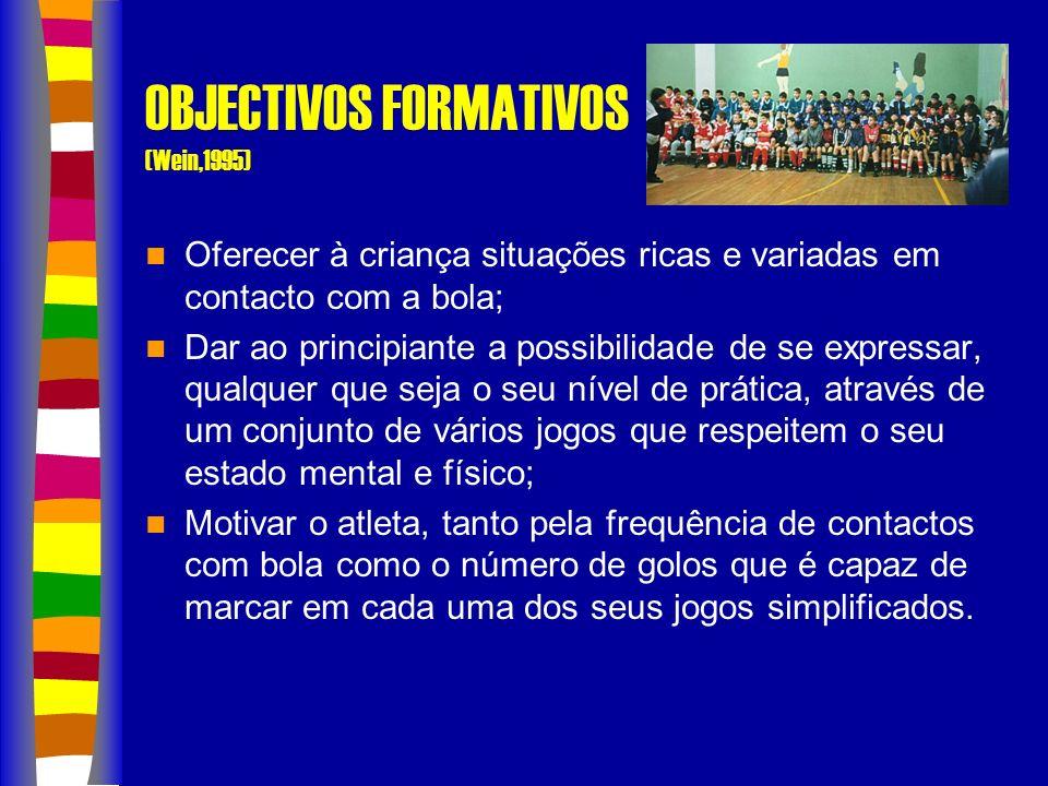 OBJECTIVOS GERAIS (A.F.Guarda) Possibilitar a todas as crianças do nosso distrito a possibilidade de praticar futebol como um desporto de recreação e tempo livre; Utilizar as aprendizagens da prática do futebol para uma formação integral da criança, a aquisição de hábitos de educação, higiene e estudo, que lhe possam ser úteis no futuro como membro activo da nossa sociedade; Descobrir talentos e formá-los de maneira a criarmos bases para as futuras equipas do nosso distrito e do futebol nacional.