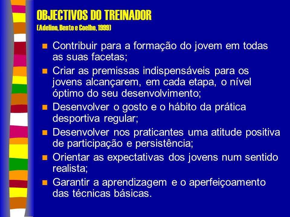 OBJECTIVOS DO TREINADOR (Adelino, Bento e Coelho, 1999) Contribuir para a formação do jovem em todas as suas facetas; Criar as premissas indispensáveis para os jovens alcançarem, em cada etapa, o nível óptimo do seu desenvolvimento; Desenvolver o gosto e o hábito da prática desportiva regular; Desenvolver nos praticantes uma atitude positiva de participação e persistência; Orientar as expectativas dos jovens num sentido realista; Garantir a aprendizagem e o aperfeiçoamento das técnicas básicas.