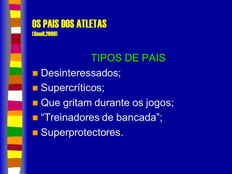 OS PAIS DOS ATLETAS (Smoll,2000) TIPOS DE PAIS Desinteressados; Supercríticos; Que gritam durante os jogos; Treinadores de bancada; Superprotectores.