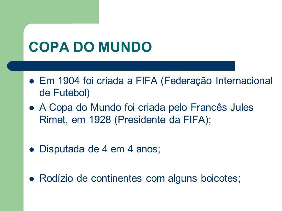 COPA DO MUNDO Em 1904 foi criada a FIFA (Federação Internacional de Futebol) A Copa do Mundo foi criada pelo Francês Jules Rimet, em 1928 (Presidente da FIFA); Disputada de 4 em 4 anos; Rodízio de continentes com alguns boicotes;