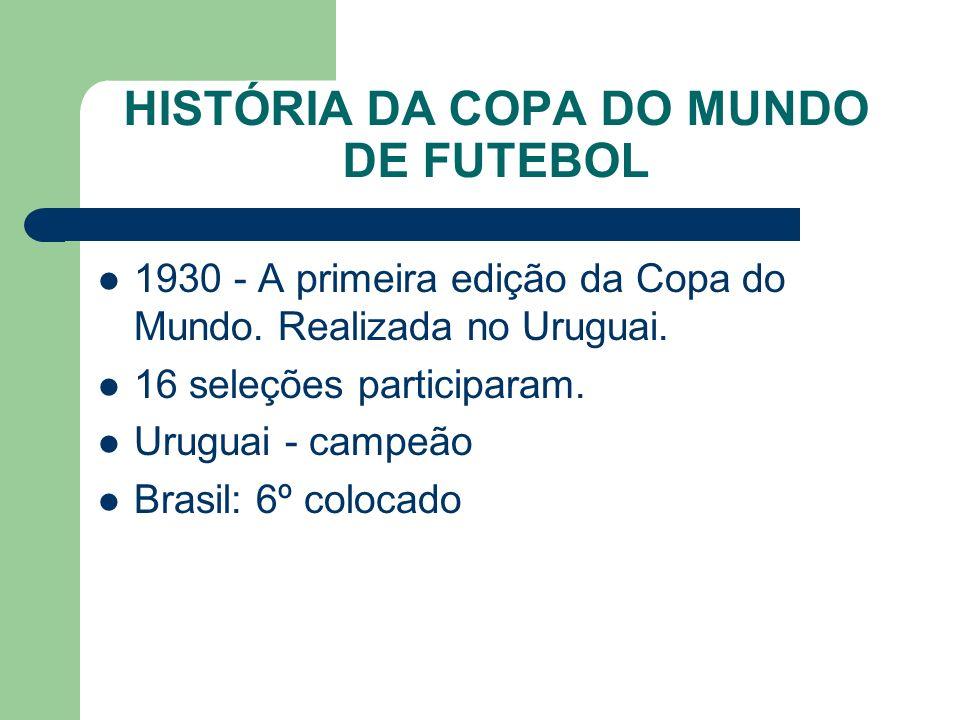 HISTÓRIA DA COPA DO MUNDO DE FUTEBOL 1930 - A primeira edição da Copa do Mundo.