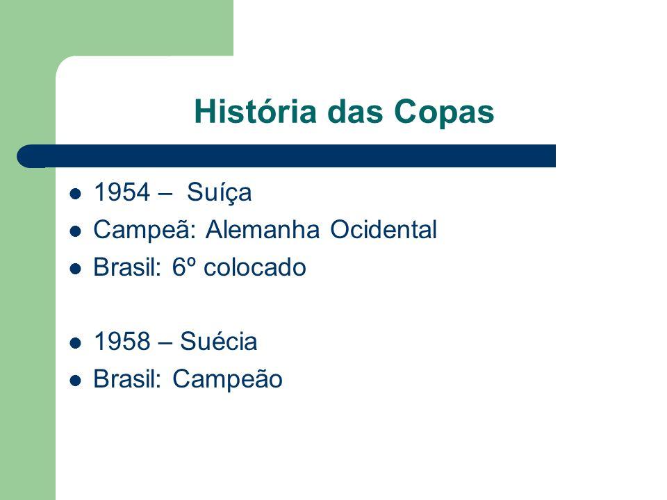 História das Copas 1954 – Suíça Campeã: Alemanha Ocidental Brasil: 6º colocado 1958 – Suécia Brasil: Campeão