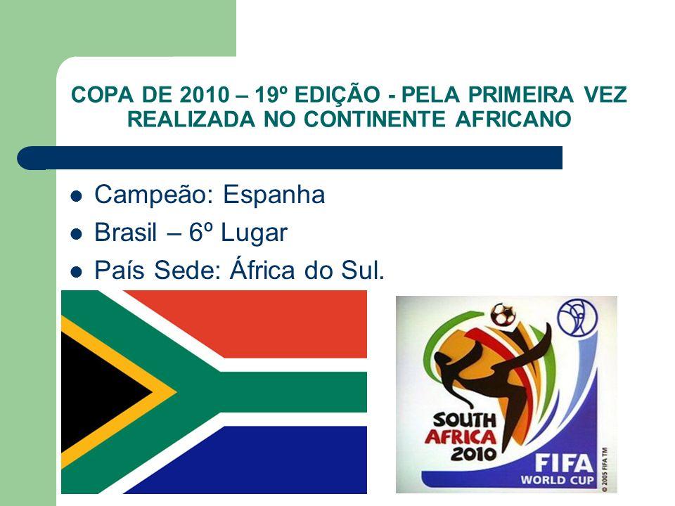 COPA DE 2010 – 19º EDIÇÃO - PELA PRIMEIRA VEZ REALIZADA NO CONTINENTE AFRICANO Campeão: Espanha Brasil – 6º Lugar País Sede: África do Sul.