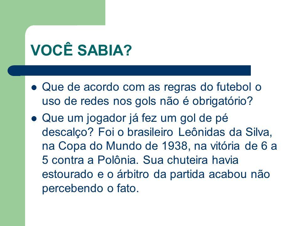 VOCÊ SABIA.Que de acordo com as regras do futebol o uso de redes nos gols não é obrigatório.