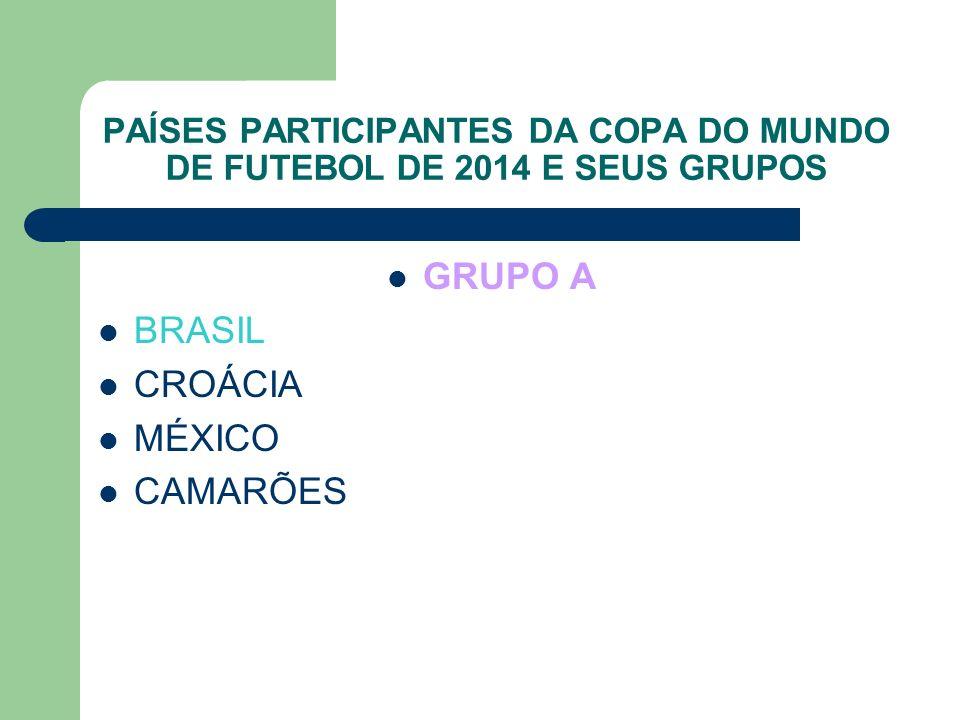 PAÍSES PARTICIPANTES DA COPA DO MUNDO DE FUTEBOL DE 2014 E SEUS GRUPOS GRUPO A BRASIL CROÁCIA MÉXICO CAMARÕES