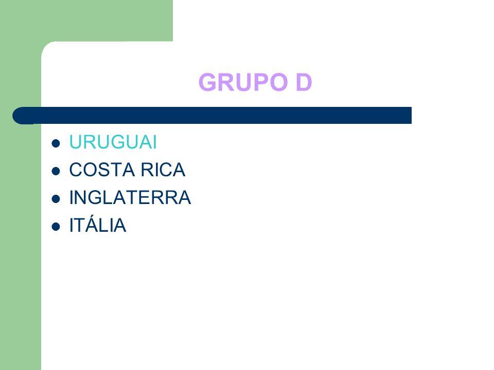GRUPO D URUGUAI COSTA RICA INGLATERRA ITÁLIA