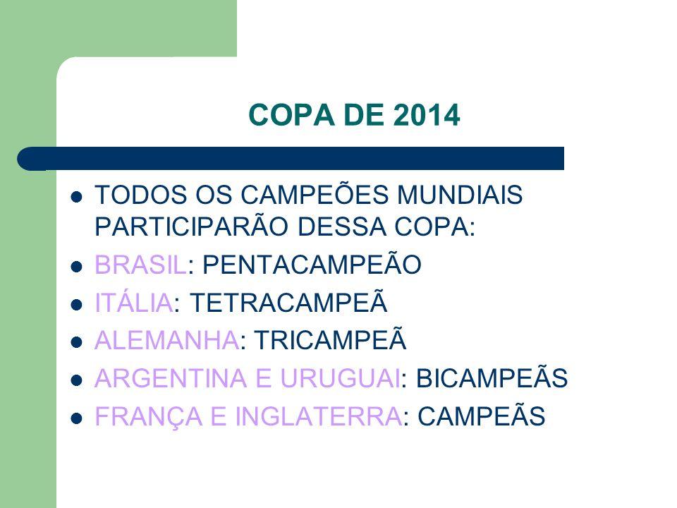 COPA DE 2014 TODOS OS CAMPEÕES MUNDIAIS PARTICIPARÃO DESSA COPA: BRASIL: PENTACAMPEÃO ITÁLIA: TETRACAMPEÃ ALEMANHA: TRICAMPEÃ ARGENTINA E URUGUAI: BICAMPEÃS FRANÇA E INGLATERRA: CAMPEÃS
