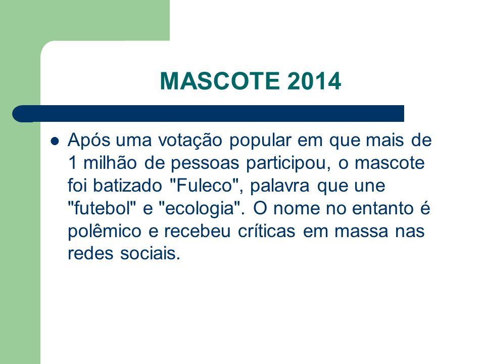MASCOTE 2014 Após uma votação popular em que mais de 1 milhão de pessoas participou, o mascote foi batizado Fuleco , palavra que une futebol e ecologia .