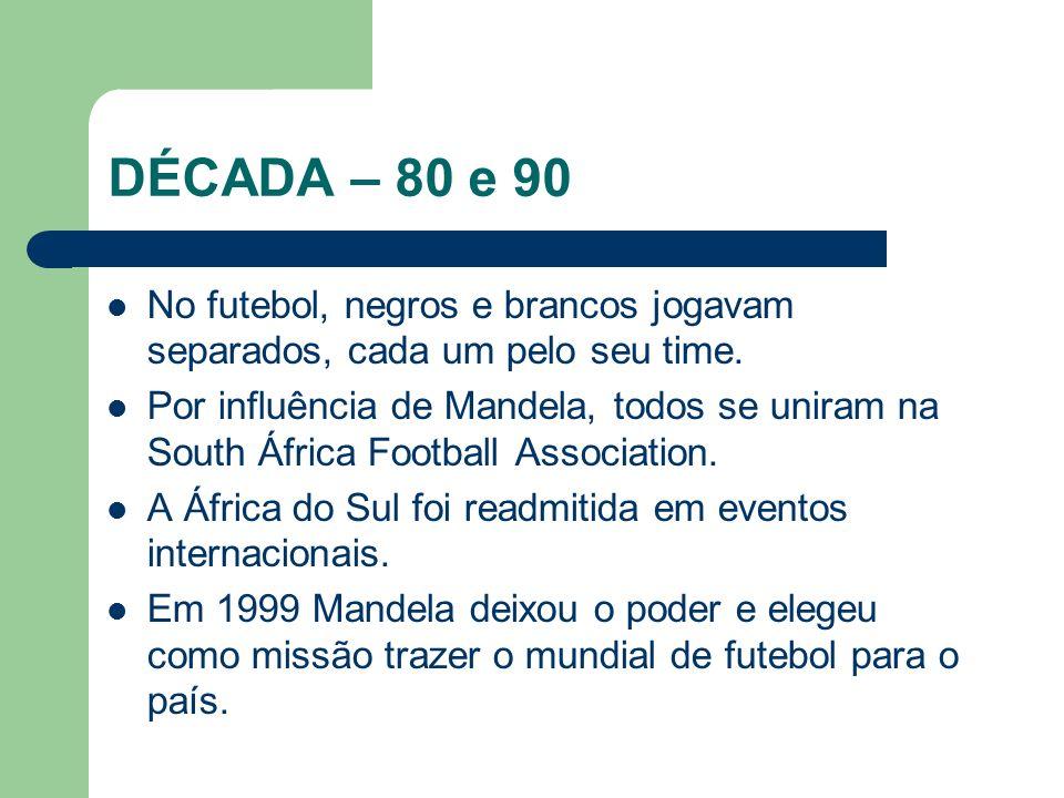 DÉCADA – 80 e 90 No futebol, negros e brancos jogavam separados, cada um pelo seu time.
