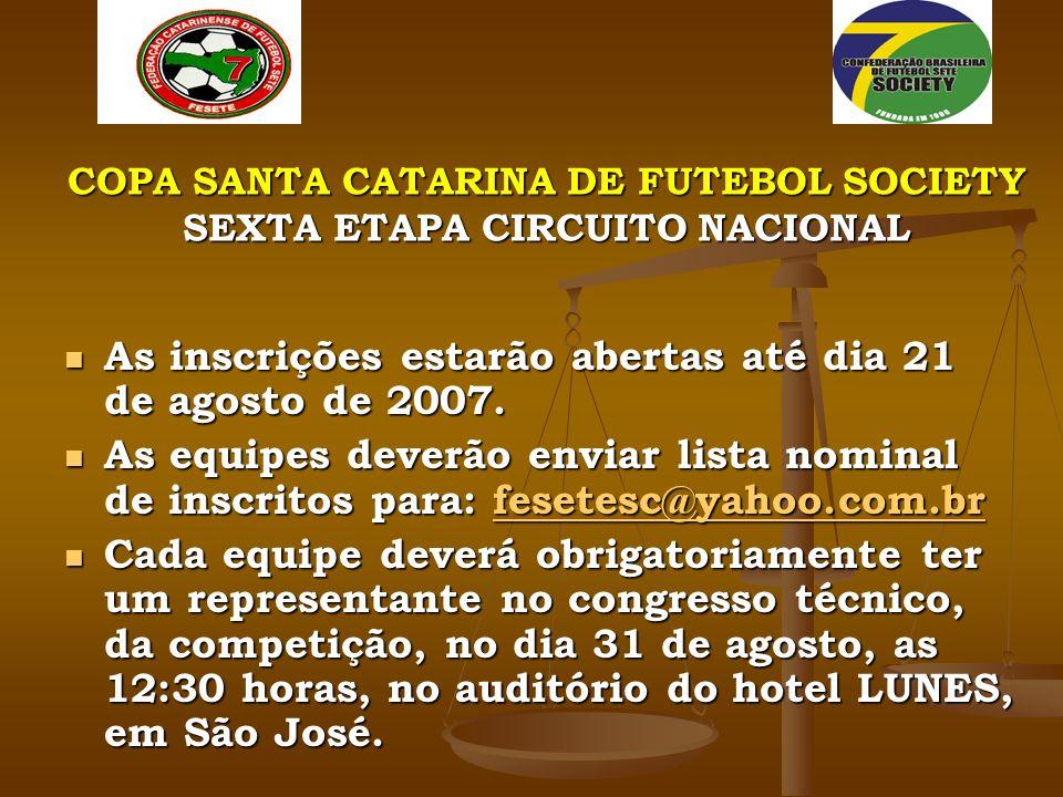COPA SANTA CATARINA DE FUTEBOL SOCIETY SEXTA ETAPA CIRCUITO NACIONAL As inscrições estarão abertas até dia 21 de agosto de 2007.