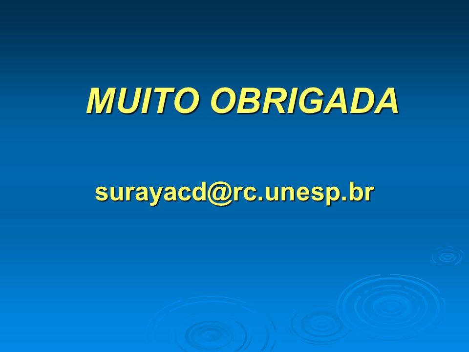 MUITO OBRIGADA surayacd@rc.unesp.br