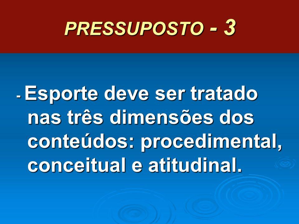 PRESSUPOSTO - 3 - Esporte deve ser tratado nas três dimensões dos conteúdos: procedimental, conceitual e atitudinal.