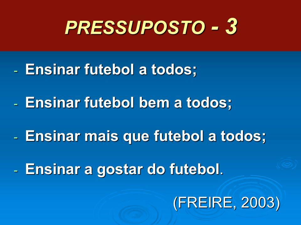 PRESSUPOSTO - 3 - Ensinar futebol a todos; - Ensinar futebol bem a todos; - Ensinar mais que futebol a todos; - Ensinar a gostar do futebol. (FREIRE,