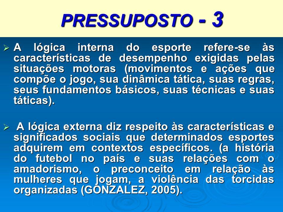 PRESSUPOSTO - 3 A lógica interna do esporte refere-se às características de desempenho exigidas pelas situações motoras (movimentos e ações que compõe