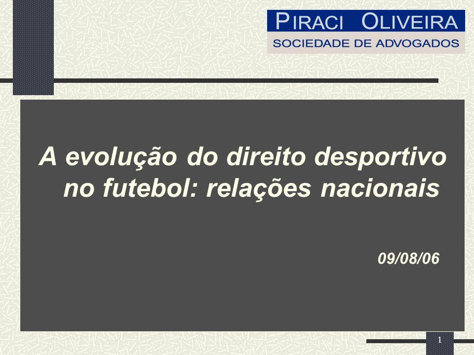 1 A evolução do direito desportivo no futebol: relações nacionais 09/08/06