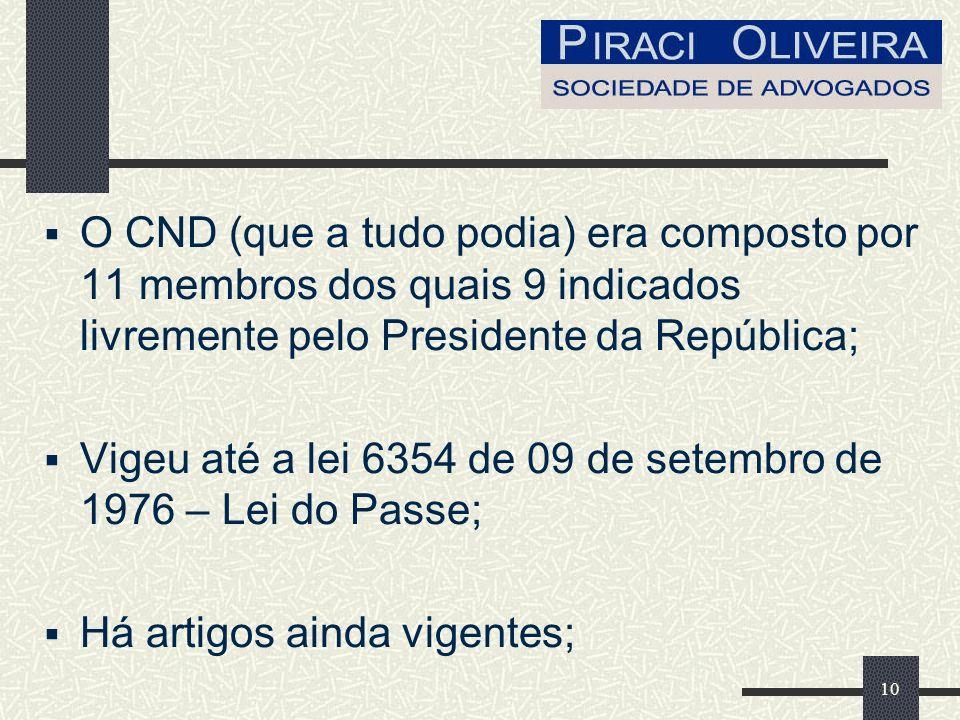 10 O CND (que a tudo podia) era composto por 11 membros dos quais 9 indicados livremente pelo Presidente da República; Vigeu até a lei 6354 de 09 de setembro de 1976 – Lei do Passe; Há artigos ainda vigentes;