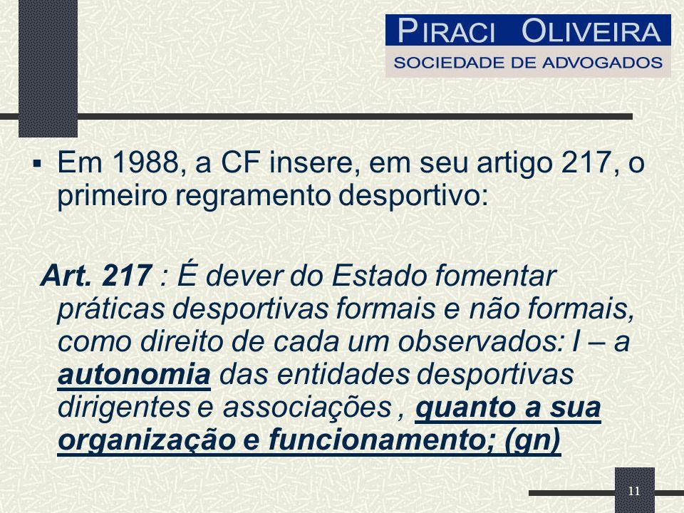 11 Em 1988, a CF insere, em seu artigo 217, o primeiro regramento desportivo: Art.