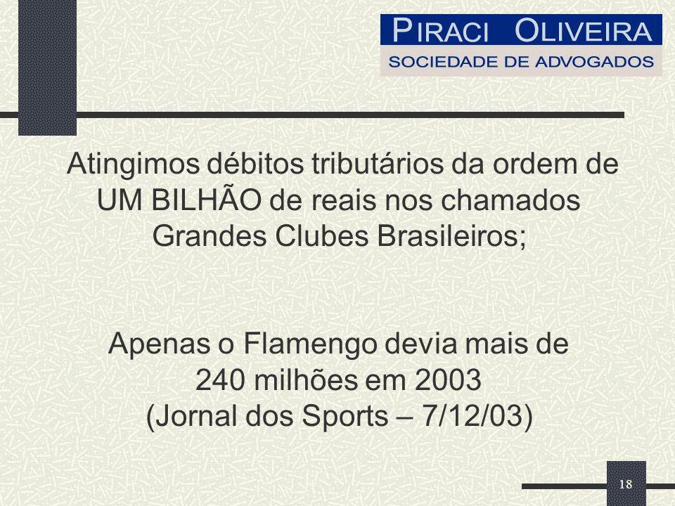 18 Atingimos débitos tributários da ordem de UM BILHÃO de reais nos chamados Grandes Clubes Brasileiros; Apenas o Flamengo devia mais de 240 milhões em 2003 (Jornal dos Sports – 7/12/03)