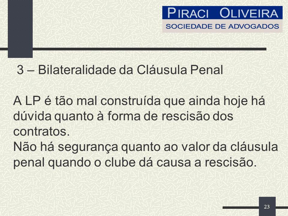 23 3 – Bilateralidade da Cláusula Penal A LP é tão mal construída que ainda hoje há dúvida quanto à forma de rescisão dos contratos.