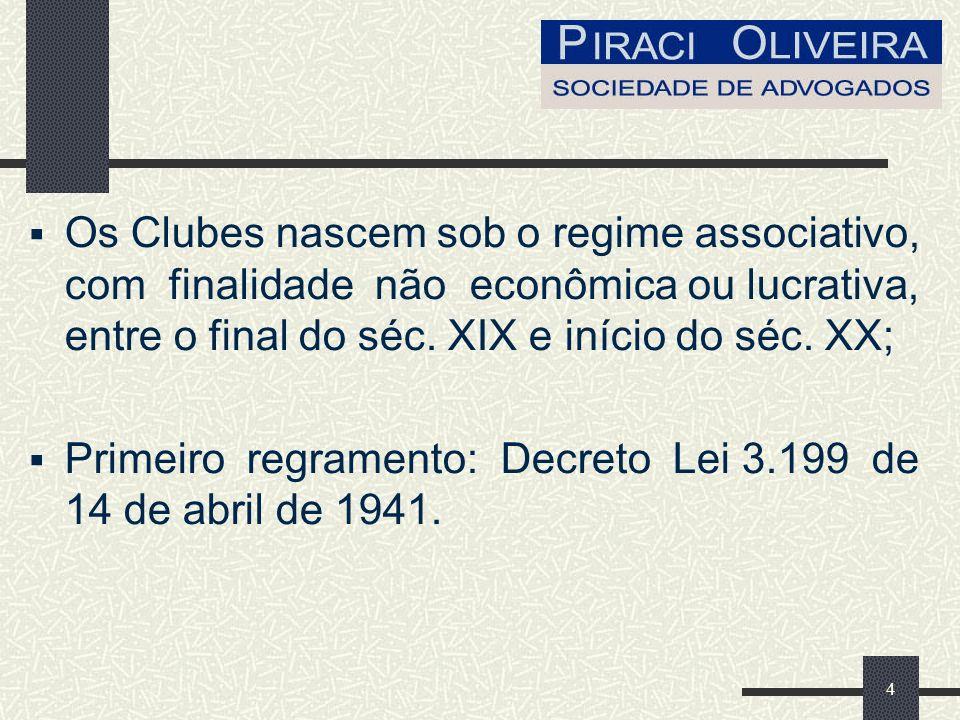 4 Os Clubes nascem sob o regime associativo, com finalidade não econômica ou lucrativa, entre o final do séc.