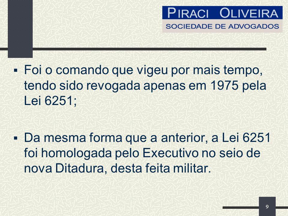 9 Foi o comando que vigeu por mais tempo, tendo sido revogada apenas em 1975 pela Lei 6251; Da mesma forma que a anterior, a Lei 6251 foi homologada pelo Executivo no seio de nova Ditadura, desta feita militar.