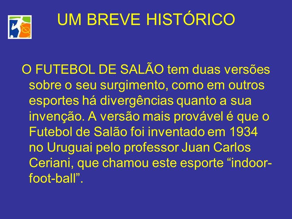 UM BREVE HISTÓRICO O FUTEBOL DE SALÃO tem duas versões sobre o seu surgimento, como em outros esportes há divergências quanto a sua invenção.
