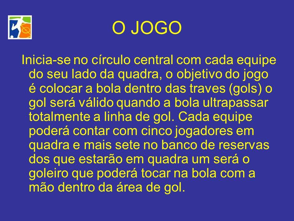 O JOGO Inicia-se no círculo central com cada equipe do seu lado da quadra, o objetivo do jogo é colocar a bola dentro das traves (gols) o gol será vál
