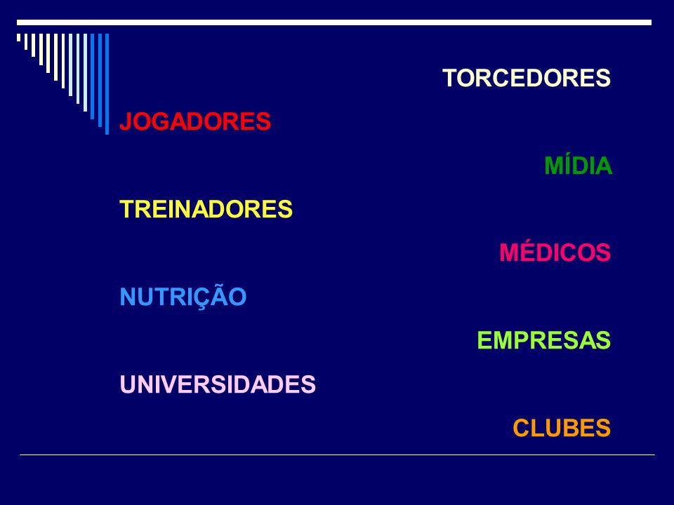 TORCEDORES JOGADORES MÍDIA TREINADORES MÉDICOS NUTRIÇÃO EMPRESAS UNIVERSIDADES CLUBES