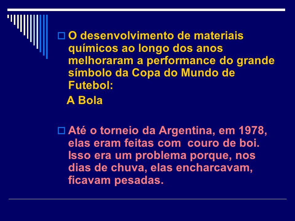 O desenvolvimento de materiais químicos ao longo dos anos melhoraram a performance do grande símbolo da Copa do Mundo de Futebol: A Bola Até o torneio