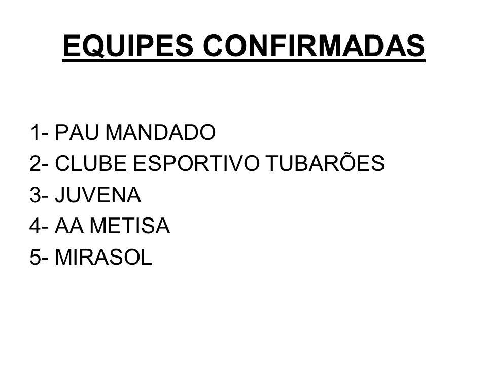 EQUIPES CONFIRMADAS 1- PAU MANDADO 2- CLUBE ESPORTIVO TUBARÕES 3- JUVENA 4- AA METISA 5- MIRASOL