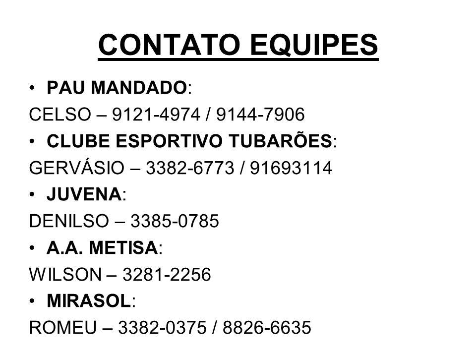 CONTATO EQUIPES PAU MANDADO: CELSO – 9121-4974 / 9144-7906 CLUBE ESPORTIVO TUBARÕES: GERVÁSIO – 3382-6773 / 91693114 JUVENA: DENILSO – 3385-0785 A.A.