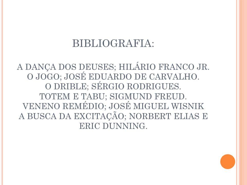 BIBLIOGRAFIA: A DANÇA DOS DEUSES; HILÁRIO FRANCO JR. O JOGO; JOSÉ EDUARDO DE CARVALHO. O DRIBLE; SÉRGIO RODRIGUES. TOTEM E TABU; SIGMUND FREUD. VENENO