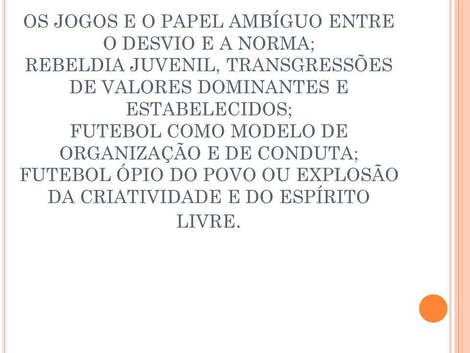 O FUTEBOL NO BRASIL: CHARLES MILLER TROUXE A BOLA; FUNCIONÁRIOS DA SÃO PAULO RAILWAY; FUTEBOL UM ESPORTE DA ELITE BRANCA; O FUTEBOL MULATO, CONFIGURAÇÃO CULTURAL, INFLUÊNCIA DA CAPOEIRA, GERANDO OS BAILARINOS DA BOLA; OS DONOS DO CAMPO E OS DONOS DA BOLA; FRIEDENREICH O MULATO NÃO MULATO E O PÓ DE ARROZ; FUTEBOL, COMO IDENTIDADE E AFIRMAÇÃO DE UMA NAÇÃO.