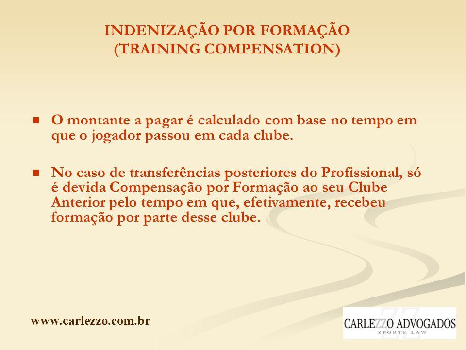 www.carlezzo.com.br INDENIZAÇÃO POR FORMAÇÃO (TRAINING COMPENSATION) O montante a pagar é calculado com base no tempo em que o jogador passou em cada