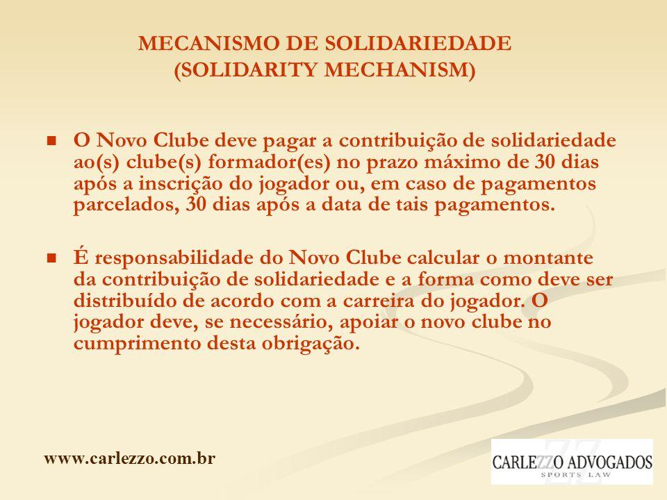 www.carlezzo.com.br MECANISMO DE SOLIDARIEDADE (SOLIDARITY MECHANISM) O Novo Clube deve pagar a contribuição de solidariedade ao(s) clube(s) formador(