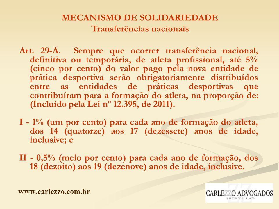 www.carlezzo.com.br MECANISMO DE SOLIDARIEDADE Transferências nacionais Art. 29-A. Sempre que ocorrer transferência nacional, definitiva ou temporária