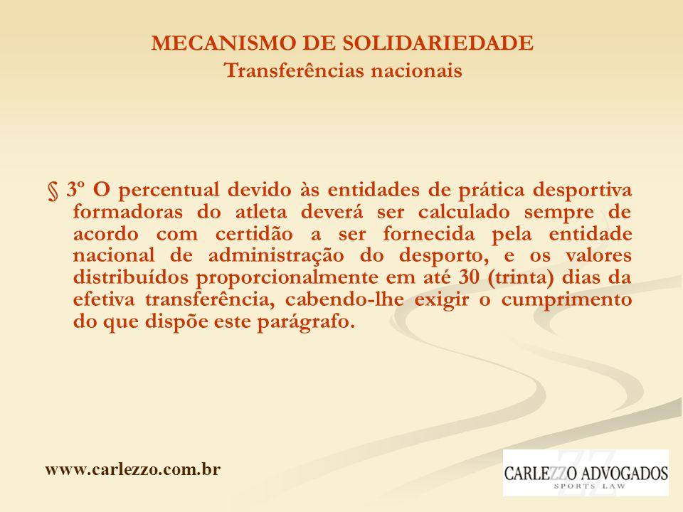 www.carlezzo.com.br MECANISMO DE SOLIDARIEDADE Transferências nacionais § 3º O percentual devido às entidades de prática desportiva formadoras do atle
