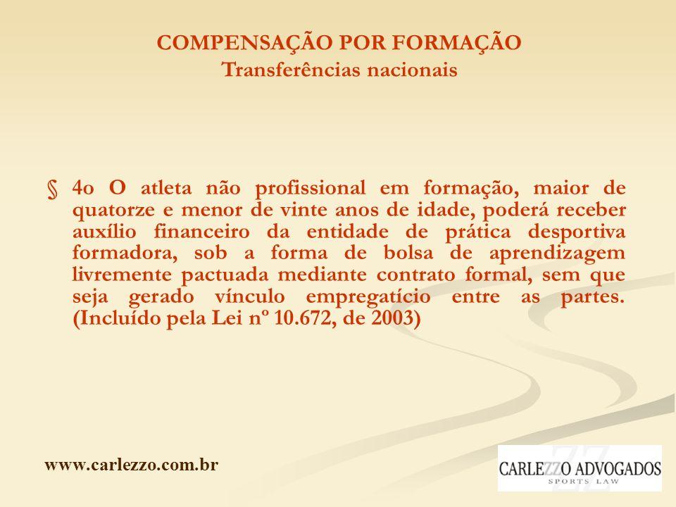 www.carlezzo.com.br COMPENSAÇÃO POR FORMAÇÃO Transferências nacionais § 4o O atleta não profissional em formação, maior de quatorze e menor de vinte a
