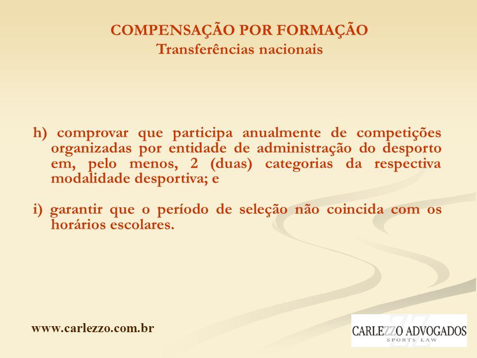 www.carlezzo.com.br COMPENSAÇÃO POR FORMAÇÃO Transferências nacionais h) comprovar que participa anualmente de competições organizadas por entidade de