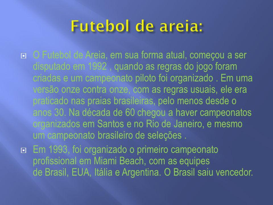 O Futebol de Areia, em sua forma atual, começou a ser disputado em 1992, quando as regras do jogo foram criadas e um campeonato piloto foi organizado.