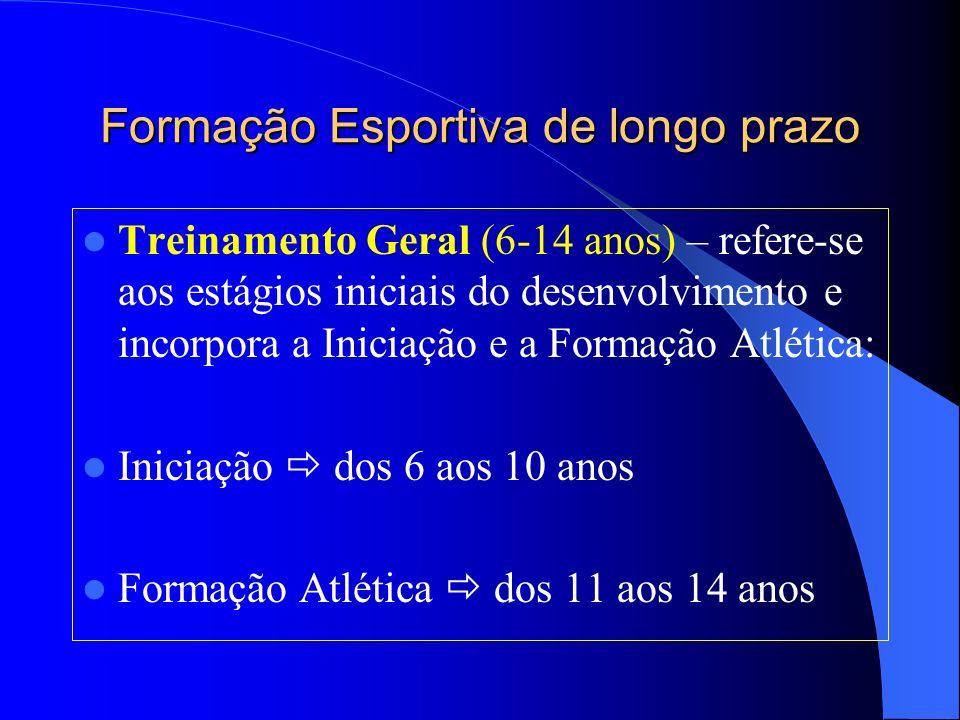 Formação Esportiva de longo prazo Treinamento Geral (6-14 anos) – refere-se aos estágios iniciais do desenvolvimento e incorpora a Iniciação e a Forma