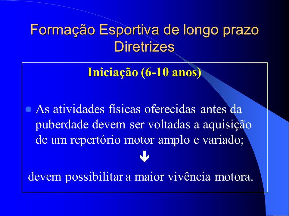Formação Esportiva de longo prazo Diretrizes Iniciação (6-10 anos) As atividades físicas oferecidas antes da puberdade devem ser voltadas a aquisição