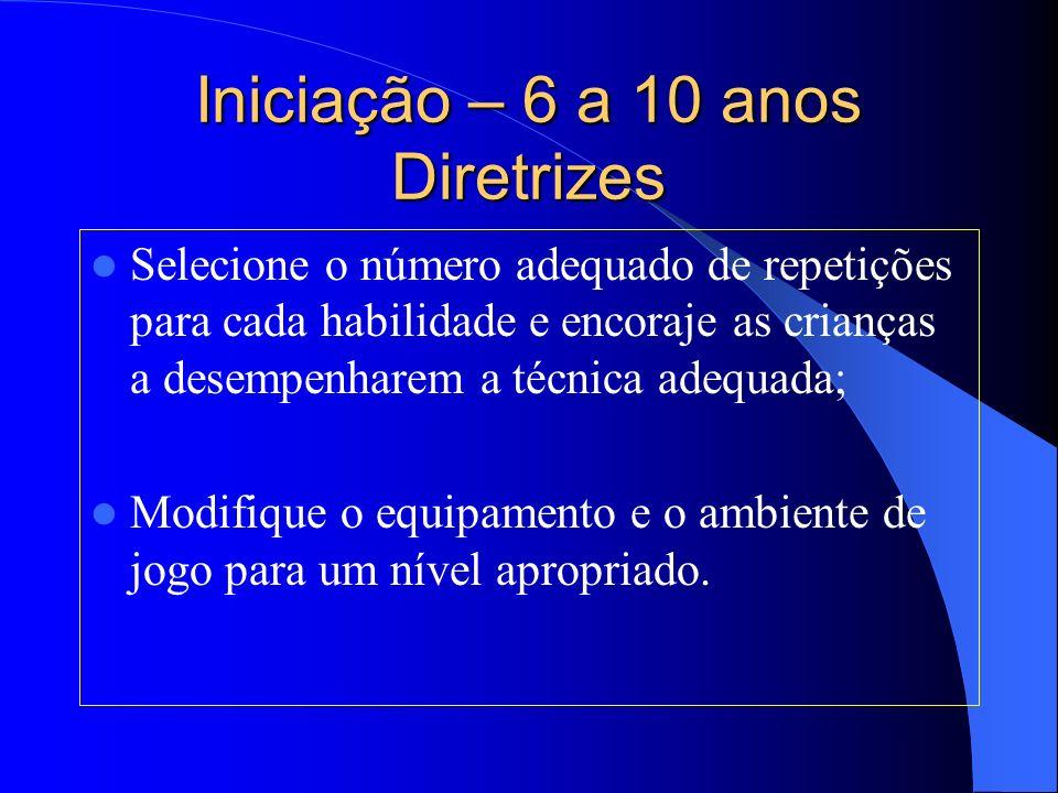 Iniciação – 6 a 10 anos Diretrizes Selecione o número adequado de repetições para cada habilidade e encoraje as crianças a desempenharem a técnica ade