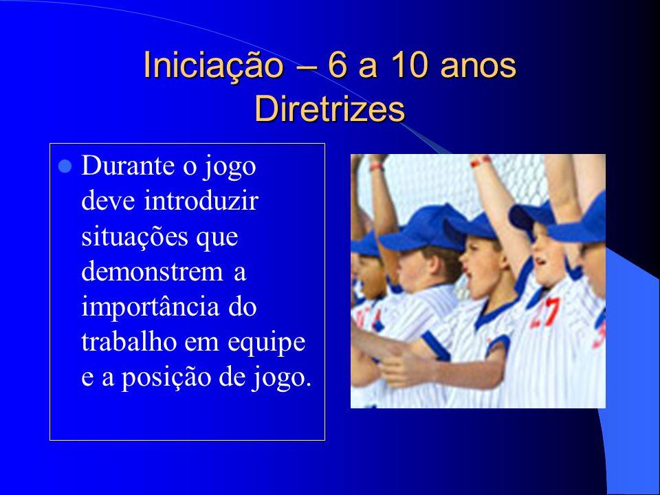 Iniciação – 6 a 10 anos Diretrizes Durante o jogo deve introduzir situações que demonstrem a importância do trabalho em equipe e a posição de jogo.